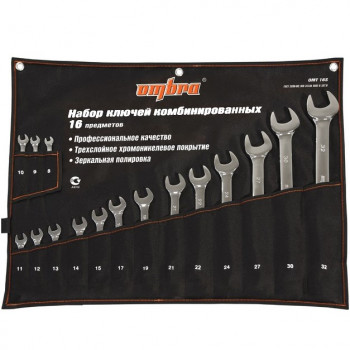 Ombra OMT16S Набор ключей гаечных комбинированных в сумке 16 предметов