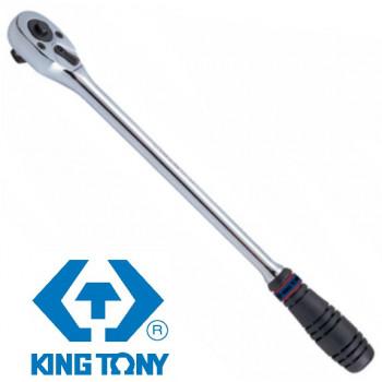"Трещотка 1/2"" 375мм 32 зубца, флажковая с кнопкой KING TONY 4762-15G"