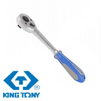 "Трещотка 1/2"" 250мм, 32 зубца флажковая с кнопкой KING TONY 4762-10G"