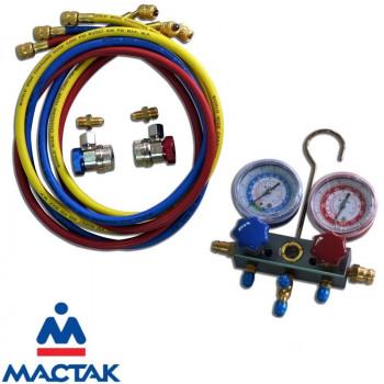 Коллектор манометрический для фреона, с быстросъемными переходниками МАСТАК 105-20001